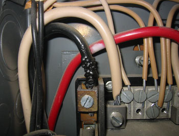 Overheated wire in electrical panel