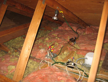 Improper wiring installation in attic