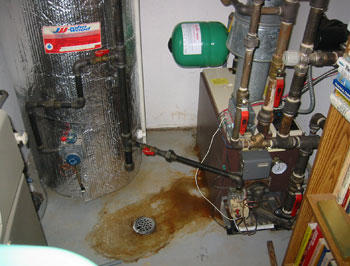 Hot water heating boiler leakage