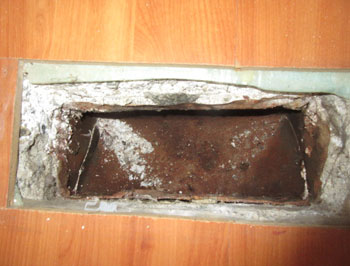Corrosion to under slab heating ductwork