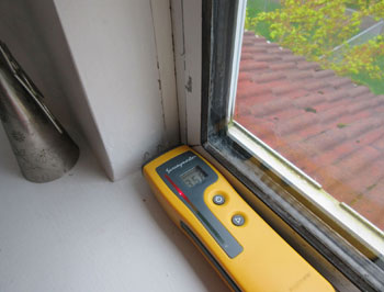 Moisture meter indicates elevated readings to window liner