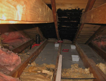 Roof leakage into attic