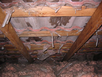 Roof leakage. Deteriorated roof underlayment